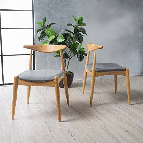 Sandra Grey Fabric with Oak Finish Mid Century Modern Dining Chairs Set of 2