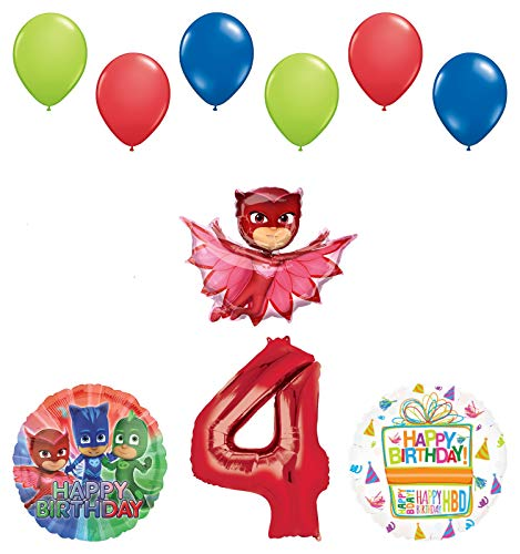 Mayflower Products PJ Masks Owlette 4th Birthday Party Supplies Balloon Bouquet Decorations ()