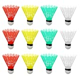 Dovewill Set of 12 Mixed Color Plastic Shuttlecocks Badminton Ball Training Game Outdoor Indoor