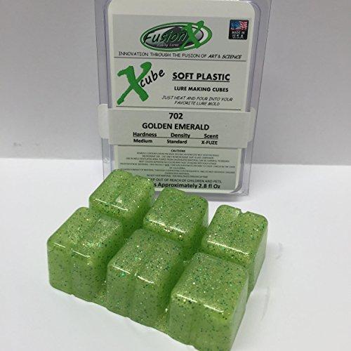 FUSION X FISHING - Xcube Soft Plastic Plastisol Lure Making Cubes - Single Pack 2.8 fl oz (702 - Golden (Emerald Fusion)