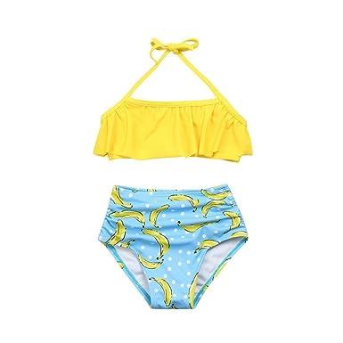 Ropa de baño Niña K-youth® 2018 Barato Ropa Verano Niña Natación Conjunto de Bikini de Baño Niñas Traje de Baño para Niña Bañador Cuello Halter de dos ...