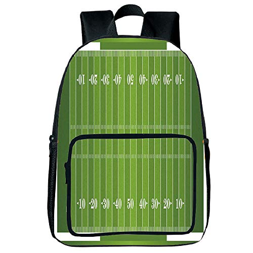 Light Weight Loss Square Front Bag Backpack,Football,Sports Field in Green Gridiron Yard Competitive Games College Teamwork Superbowl,Green White,for Children,Print Design.15.7