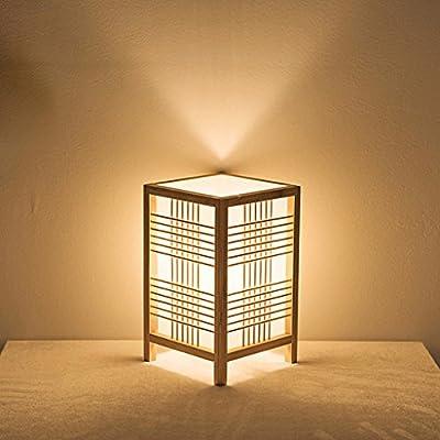 Lámpara de mesa de madera cuadrada retro creativa japonesa ...