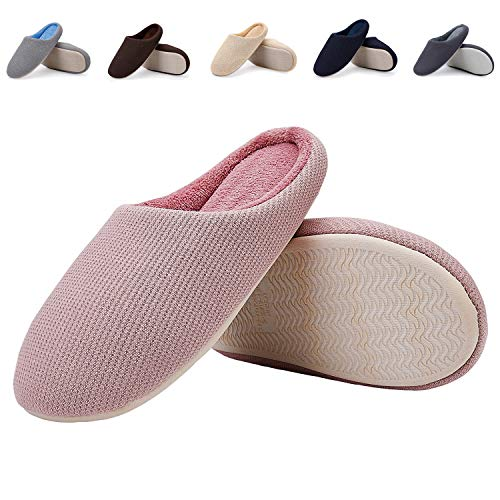 with Anti House Foam Sole Indoor Memory Pink Shoes Women Slip and Slippers Men EASTSURE 1xqTzZC