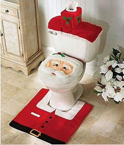 3pcs/set Santa Toilet Seat Cover Rug Commode Bathroom Set Christmas