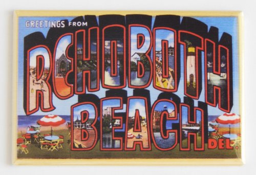 Greetings From Rehoboth Beach Delaware Fridge Magnet (2 x 3 - Beach Rehoboth Stores