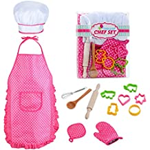 Kids Chef Role Play Costume Set Includes Apron, Chef Hat for Little Girls Chef Set Toddler Dress up Pretend Play Kitchen Chef Costume Set-13pcs Baking Sets Great Gift's for 3 Year Olds Kids and Up