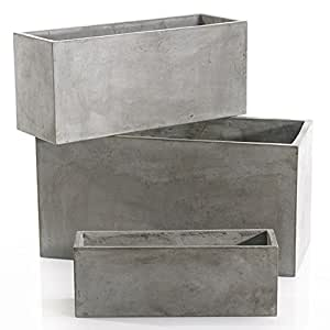 The Newport Collection Newport Rectangular Concrete Planters, Set Of Two, 27.5""