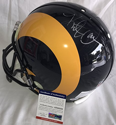 Kurt Warner Autographed Football - Kurt Warner Signed / Autographed St Louis Rams Full Size Authentic Proline Football Helmet - PSA DNA Certified