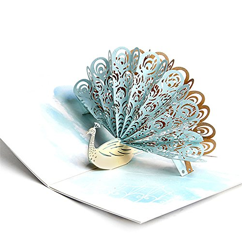 (Jerry & Maggie - Pop Up Greeting Card - Cute Peacock 3D Paper Greeting Thank You Card Handmade Envelope for kids men women | Holiday Halloween Thanksgiving Birthday White (Jade)