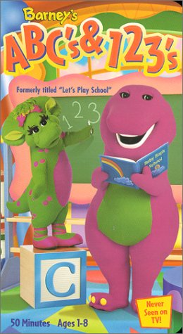 """Barney - ABC's & 123's (previously """"Let's Play School"""") [VHS]"""