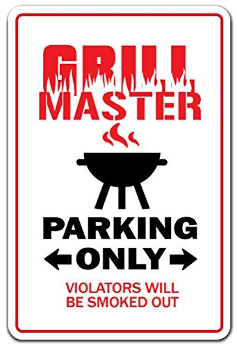 Grill Master Bbq Cookout Tailgating Cook Dad Burger Hot Dogs Funny Sign Gift Indoor Outdoor Decorative Metal Aluminum Sign