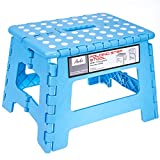 Acko 9-Inch Plastic Folding Step Stool Holds up to 250 lb, Light Blue