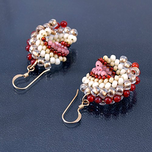 gs, Handcrafted in 14K Gold Filled with Natural Carnelian Accents (Elegant Spiral Seed)