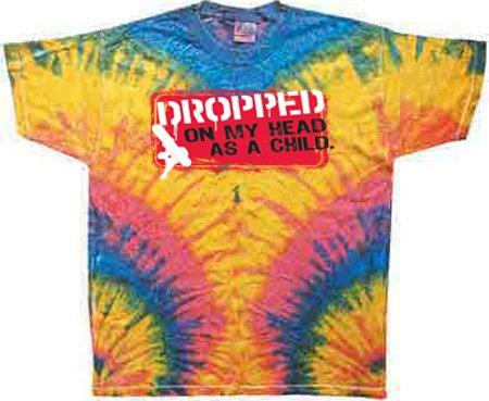 Janis Joplin Tie Dye T-shirt - DROPPED ON MY HEAD Funny WOODSTOCK Adult Tie Dye T-shirt Tee Shirt, 3XL