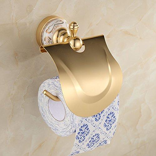 Ibnotuiy European Antique Space Aluminum Wall Mounted Toilet Paper Holder Luxury Ceramic Bathroom Waterproof Tissue Holders Gold by Ibnotuiy (Image #5)