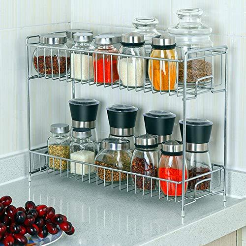 2-Tier Kitchen Spice Rack LIANTRAL Countertop Storage Organizer Shelf Holder for Jars Bottle
