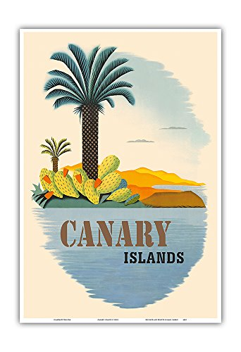 Canary Islands - Palm Trees and Cactus - Vintage World Travel Poster c.1950s - Master Art Print - 13in x 19in