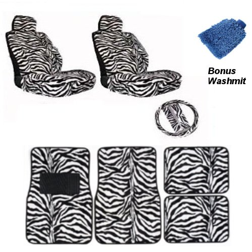 New Premium Grade 12 pieces Safari White Zebra Interior Seat Covers set With Front Low Back Seat Covers, and Steering Wheel set, 4 Pieces Floor Mat set WITH FREE Microfiber WASH MITT