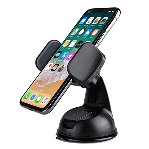 LAX Dashboard Mount Phone Holder - Car Mount with Suction Cup for Dash and Windshield Compatible with Most Smartphones & Mini Tablets (Black)