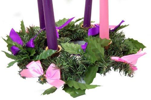 Silk Ribbon Advent Wreath Candle Holder Christmas Season