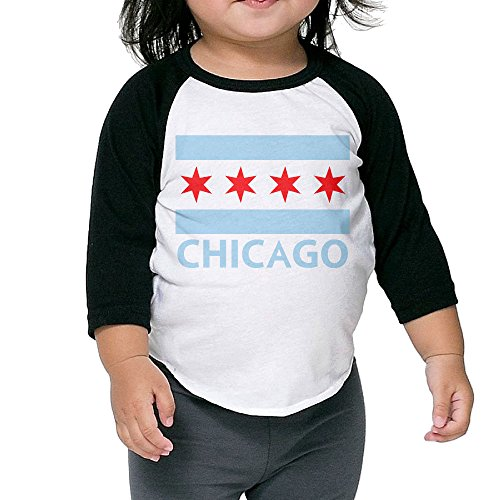 Chicago Toddler Shirt (GroupFlying Chicago City Flag Unisex Child 3/4 Sleeve Raglan Baseball Tee)