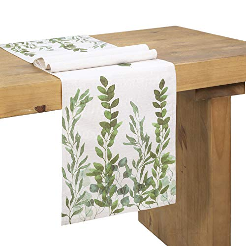 Ling's moment Dinning Table Runners 72 Inch Farmhouse Decoration, Country Wedding Table Runner, Bridal & Baby Shower Décor,Spring Wedding Table - Runner Leaves Table