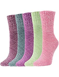 Women's Winter Socks 5 Pairs Thick Wool Soft Warm Casual Socks Vintage Socks for Women Free Size
