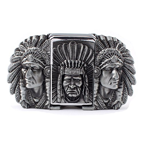 Buckle Warrior Belt (Vintage Indian Warrior Chief and Lighter Belt Buckle Cowboy Native American (IW-02-S))