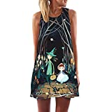 HTHJSCO Women's Boho Dress O-Neck Sleeveless Beach Sundress Floral Printed Casual T-Shirt Short Mini Dress (S, D)