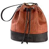 Corkor Bucket Bag for Women Crossbody Shoulder Handbag Non-Leather Vegan Cork Red Color