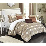Chic Home 6 Piece Fiorella New Luxury Jacquard Collection Comforter Set, King, Gold