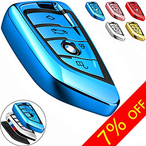COMPONALL for BMW Key fob Cover, Key Fob Case for BMW 2 5 6 7 Series X1 X2 X3 X5 X6 Premium Soft TPU Anti-dust Full Protection, Blue