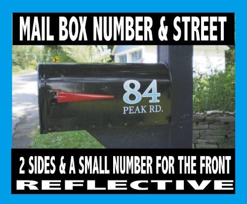 Designer Signs Mailbox Number & Name Decal Set Reflective Mailbox ()