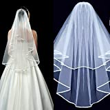 menoqo Simple Short Lace Applique Elegant Wedding Bridal Veils