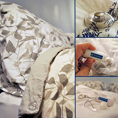 PinionPins - Patented Duvet & Comforter Clips - Stronger Than Traditional Bedding pins - Use as Duvet Donuts, Comforter Fasteners, Curtain or Drape Pins, or to Secure Upholstery! (16, Clear)