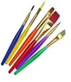 RIANZ Set of 6 Different Sizes Synthetic Flat Paint Brush for Oil, Nail Brush Art, Artist Acrylic Painting