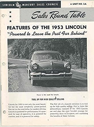 Round Table Lincoln.Amazon Com 1953 Lincoln Sales Round Table Salesman S Brochure 2a