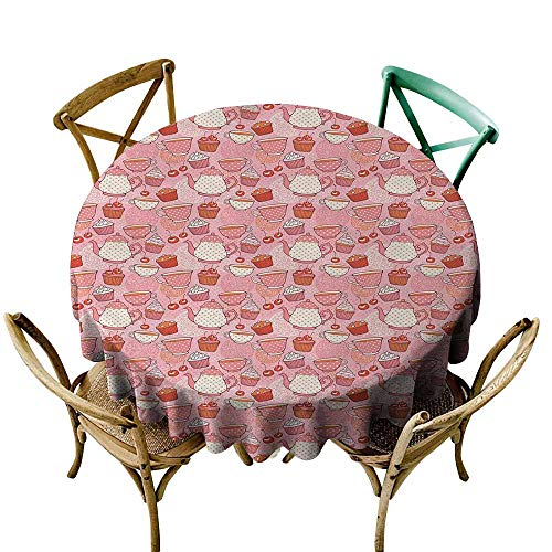 Spill-Proof Table Cover Tea Party Tea Time Themed Illustration with Cherries and Cupcakes of Many Flavors for Events Party Restaurant Dining Table Cover 47 INCH Pink Beige -