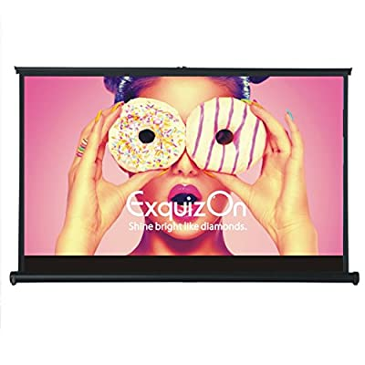 ExquizOn 50'' 16:9 Projector Screen Fast-Fold Mini-Fold Tabletop Projection Screen, Matte White Fabric