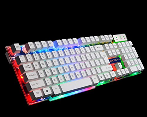 Multicolor LED Backlight Wired USB Mechanical Game Keyboard LOL Game Waterproof Luminous Backlight (White)