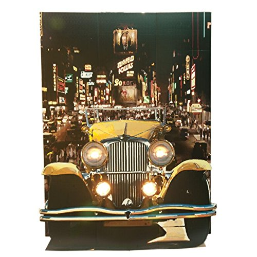 Yellow Gatsby Car Photo Scene - 8 Feet High x 6 Feet Wide x 48 Inches Deep - Real Working Electrical Lights (20s Large Bulb)
