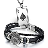 Aroncent Stainless Steel Necklace Braided Leather Rope Bracelet with Poker 2 Pcs Set