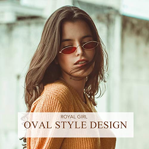 ROYAL GIRL Vintage Oval Sunglasses For Women Men Unisex Fashion Small Metal Frames Shades (C40-Gold-Red)