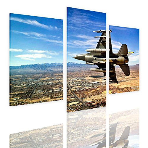 Alonline Art - Jet Fighter In The Sky by Split 3 Panels | framed stretched canvas on a ready to hang frame - 100% cotton - gallery wrapped | 48