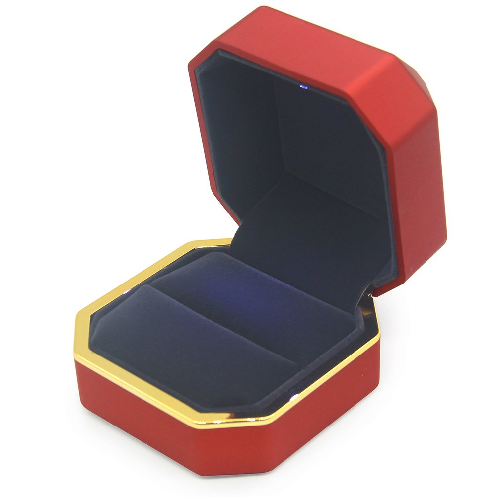 AVESON Luxury Ring Box, Square Velvet Wedding Ring Case Jewelry Gift Box with LED Light for Proposal Engagement Wedding, Red