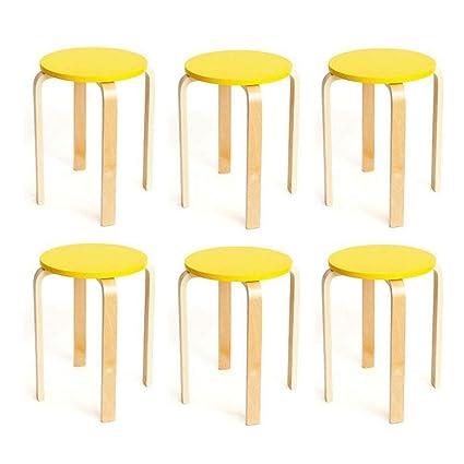 Amazing Amazon Com Ycsd Pack Of 6 Wooden Round Stool Anti Slip Theyellowbook Wood Chair Design Ideas Theyellowbookinfo