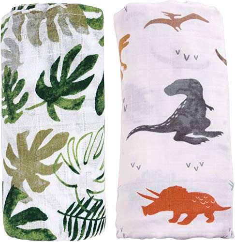 Bamboo Muslin Swaddle Blankets for Boys - 2 Pack