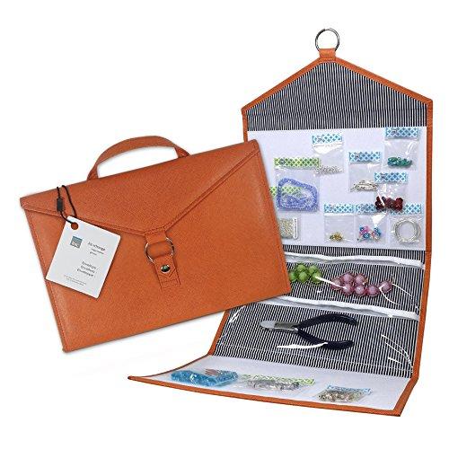 Craft Storage + Bead Organizer Orange ENVELOPE by KIT XCHANGE Travel Storage Bag + Hanging Jewelry Bead Organizer by Kit xChange