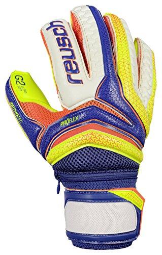 Reusch Soccer Serathor Pro G2 Ortho Tec Goalkeeper Gloves, Yellow/Blue, 7